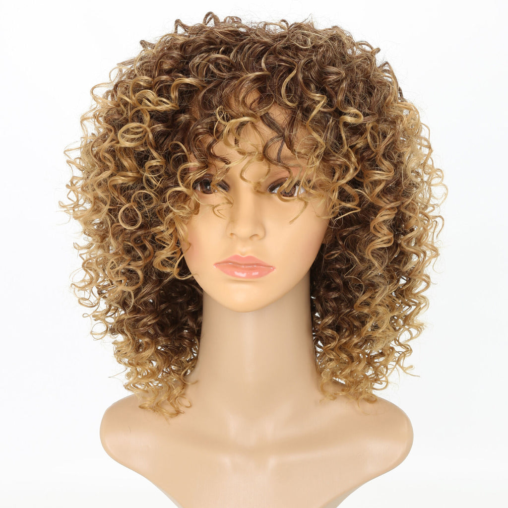 Fashion Women Blonde Kinky Curly Wigs Ladies Afro Natural Short Wavy Hair Wig UK - poptopdeal