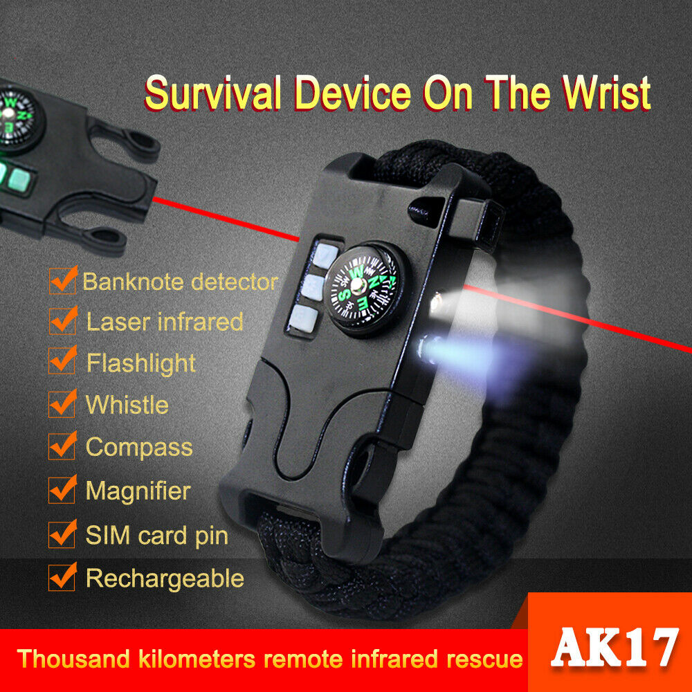Military Waterproof Survival Wrist Watch Tactical Bracelet Flint Fire Starter UK - poptopdeal