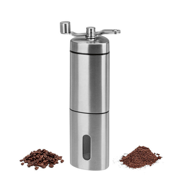 Manual Coffee Grinder Adjustable Ceramic Conical Burr Stainless Steel Triangle - poptopdeal