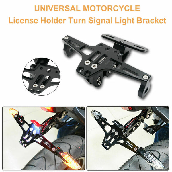 Motorcycle Adjustable CNC Number Plate Tail Tidy Lisence Bracket + LED Light # - poptopdeal