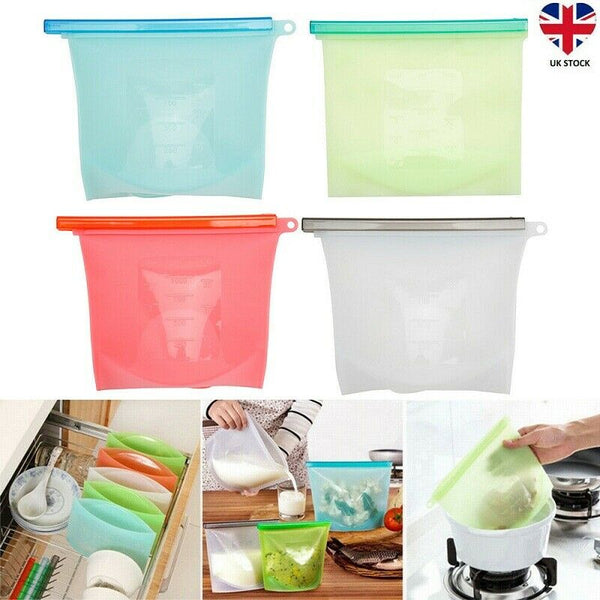 4/8 Pcs Kitchen Fresh Zip lock Bag Reusable Silicone Food Freezer Storage UK - poptopdeal