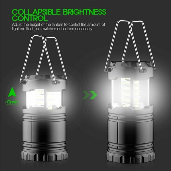 4PCS 30 LED Portable Camping Hiking Lantern Bright Tent Hanging Night Light Lamp - poptopdeal