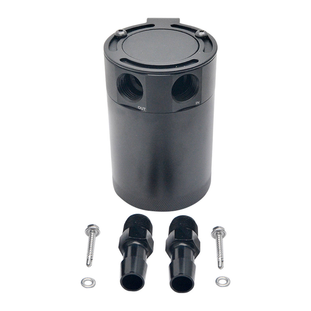 UNIVERSAL INTERNALLY BAFFLED OIL CATCH CAN TANK 2 PORT SEPARATOR - poptopdeal