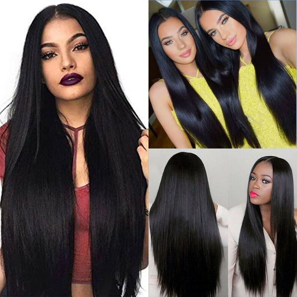Natural Brazilian Virgin Human Hair Wigs Glueless Front Wig Horsetail Hair UK - poptopdeal