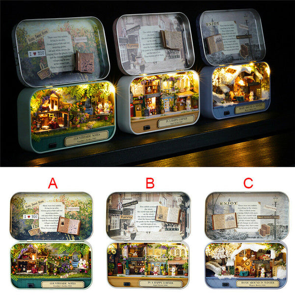 3 Themes DIY Mini Tin Box Theatre Dolls House Dollhouse Miniature Kits Toy Gift - poptopdeal