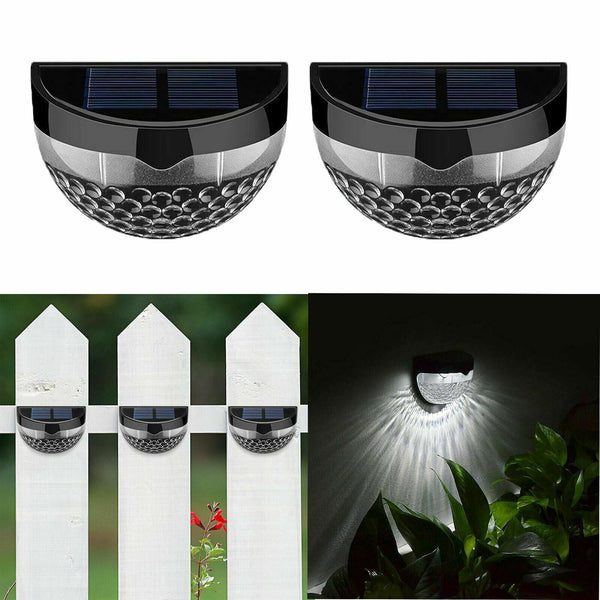 2 Pack 6 LED Solar Power Garden Lights Outdoor Fence Lamp Light Waterproof - poptopdeal