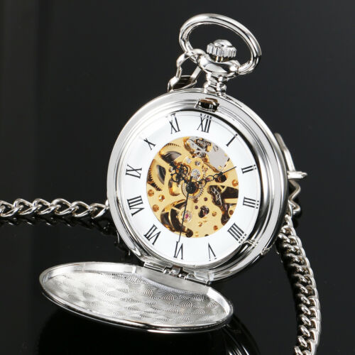 MECHANICAL SKELETON POCKET WATCH FULL HUNTER SILVER CHAIN PENDANT VINTAGE Gift - poptopdeal