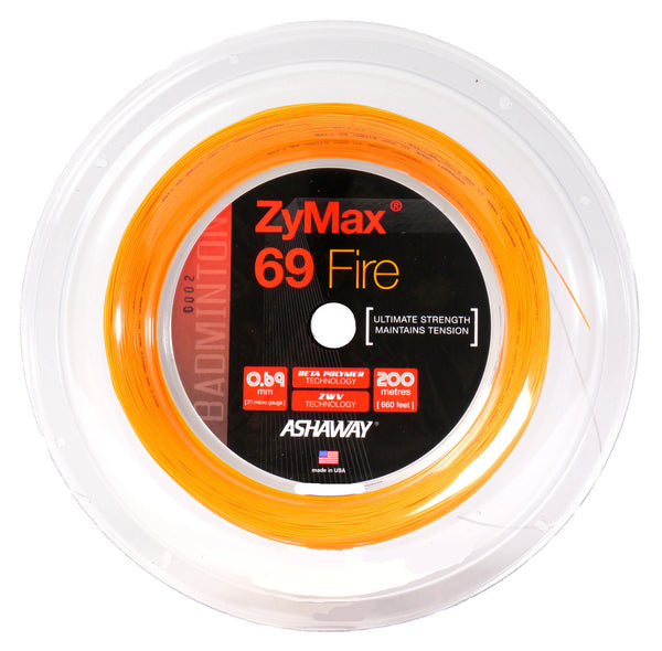 Ashaway Zymax 69 Fire 0.69mm 200m (Ultimate Strength) - Badminton String Reel