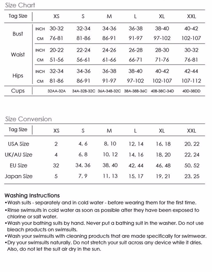 Ouivita Swimsuit Sizing Chart