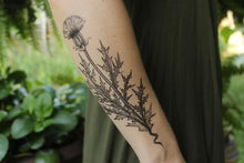 Load image into Gallery viewer, Purple Thistle Flower Temporary Tattoo - Astor Apiaries