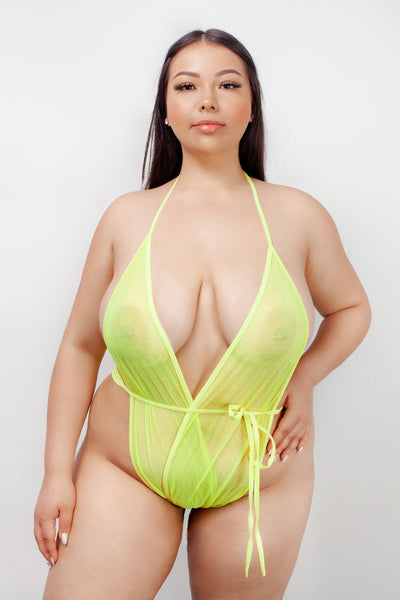 BUTTERFLY WRAP - SPARKLE NEON YELLOW MESH