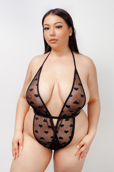 KITTEN WRAP - BLACK MESH HEARTS
