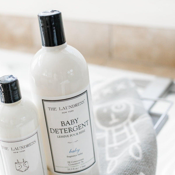 close up photo of laundress baby detergent in a bathroom
