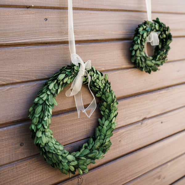 Boxwood Wreaths with White Ribbon