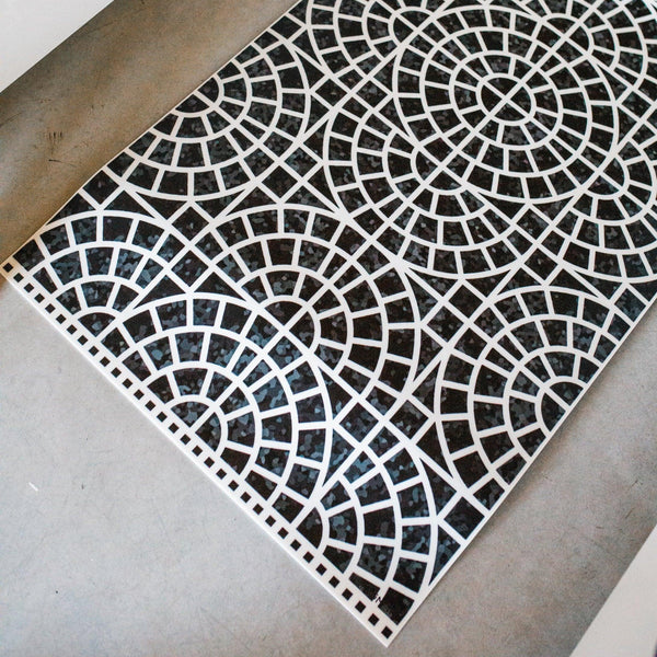 black and white mosaic beaumont vinyl floormat