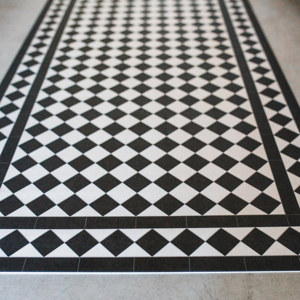 black and white checkered beaumont vinyl floormat