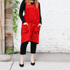 front of red cuisine apron by linen way