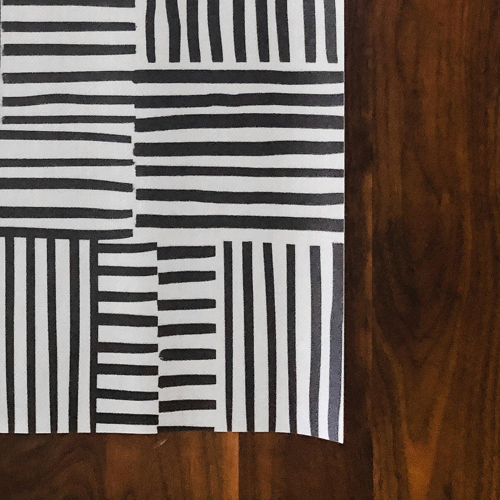 black and white striped tile beaumont vinyl floormat