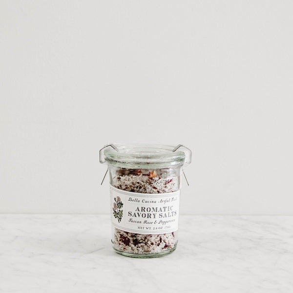 glass jar of aromatic flavored savory finishing salts