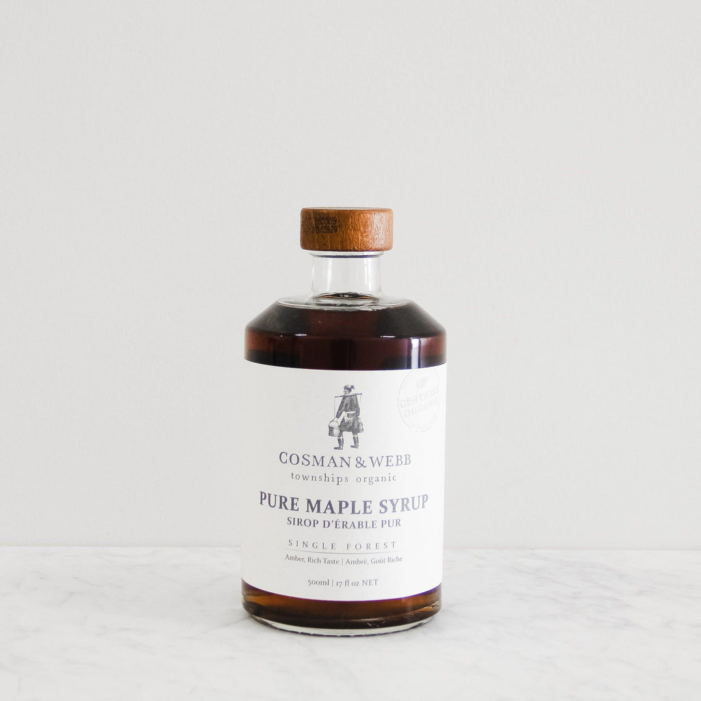 glass bottle of cosman and webb pure maple syrup