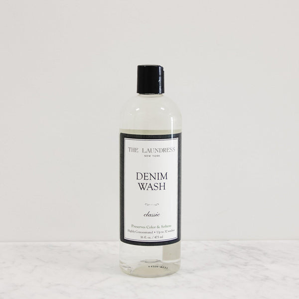bottle of laundress denim and jeans laundry detergent scented in classic perfume