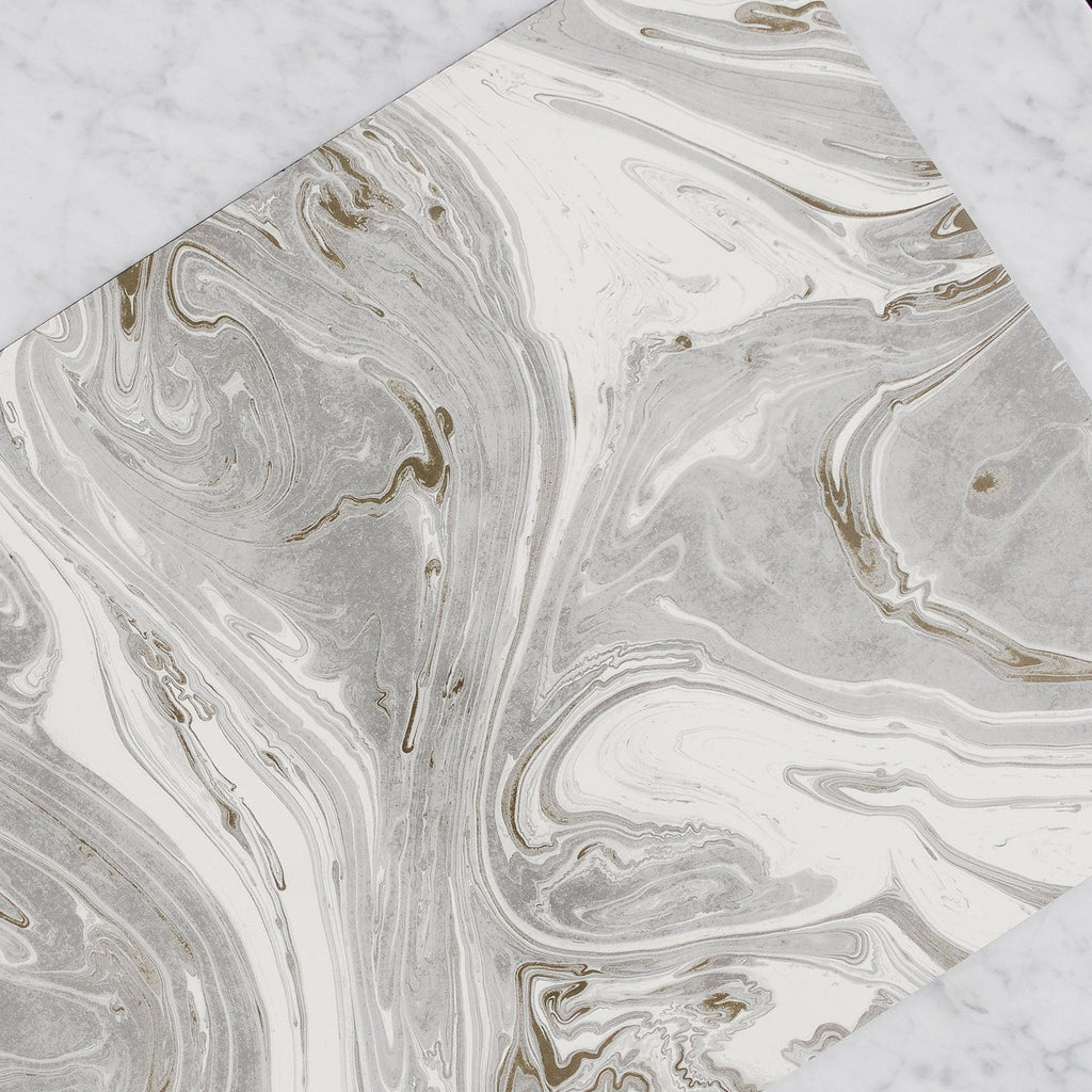 Hester & Cook - Paper Placemats in Grey Gold Marbled pattern