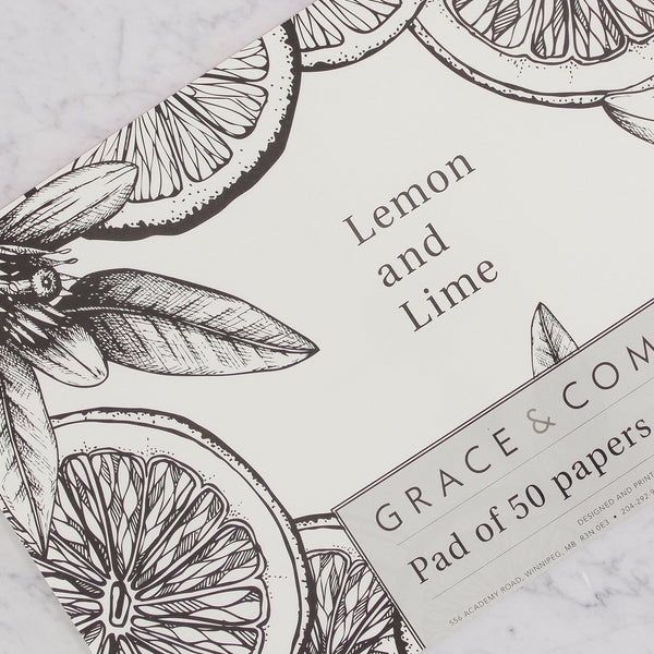 grace and company pad of 50 placemat papers in lemon lime black and white pattern