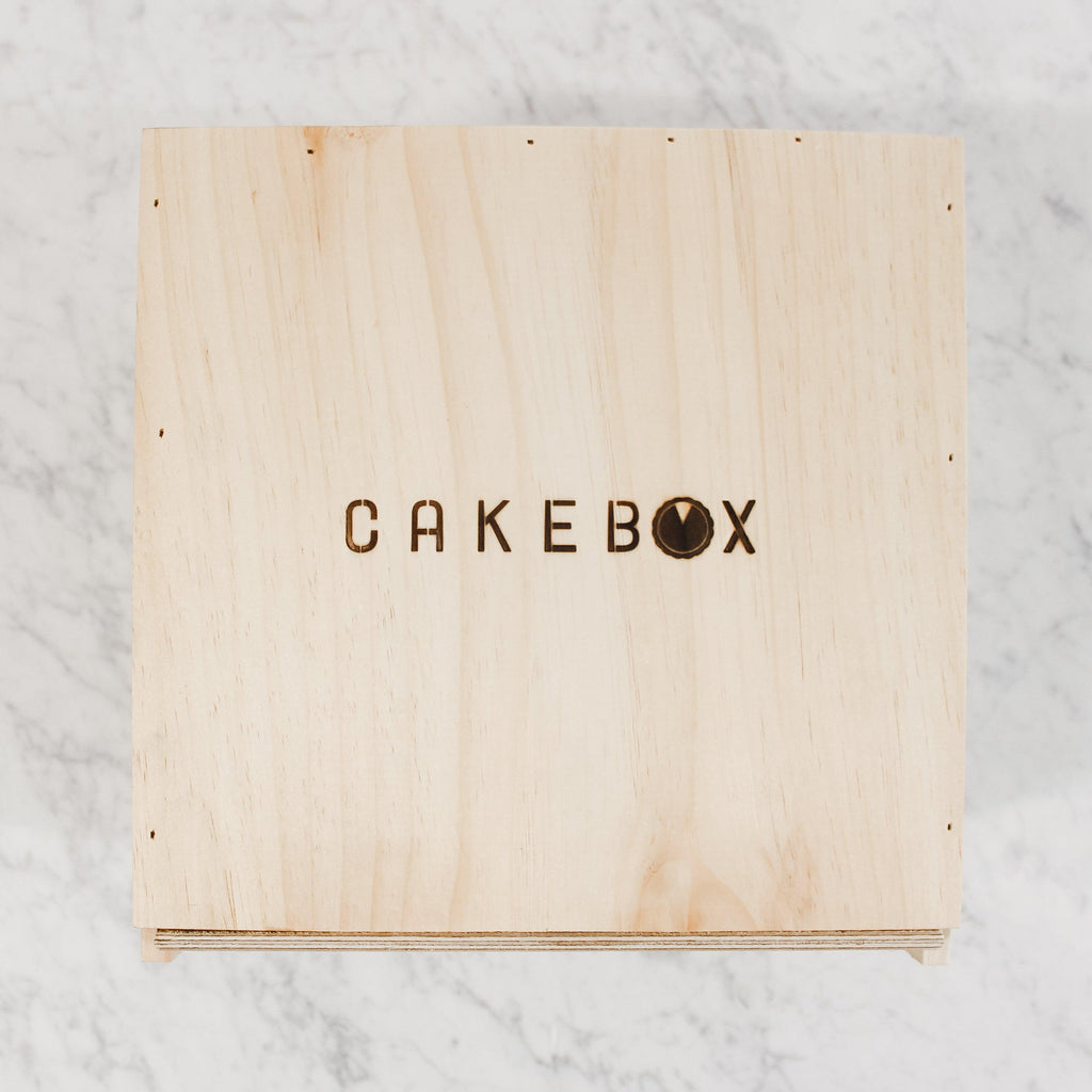top view of wooden cake boax by piebox