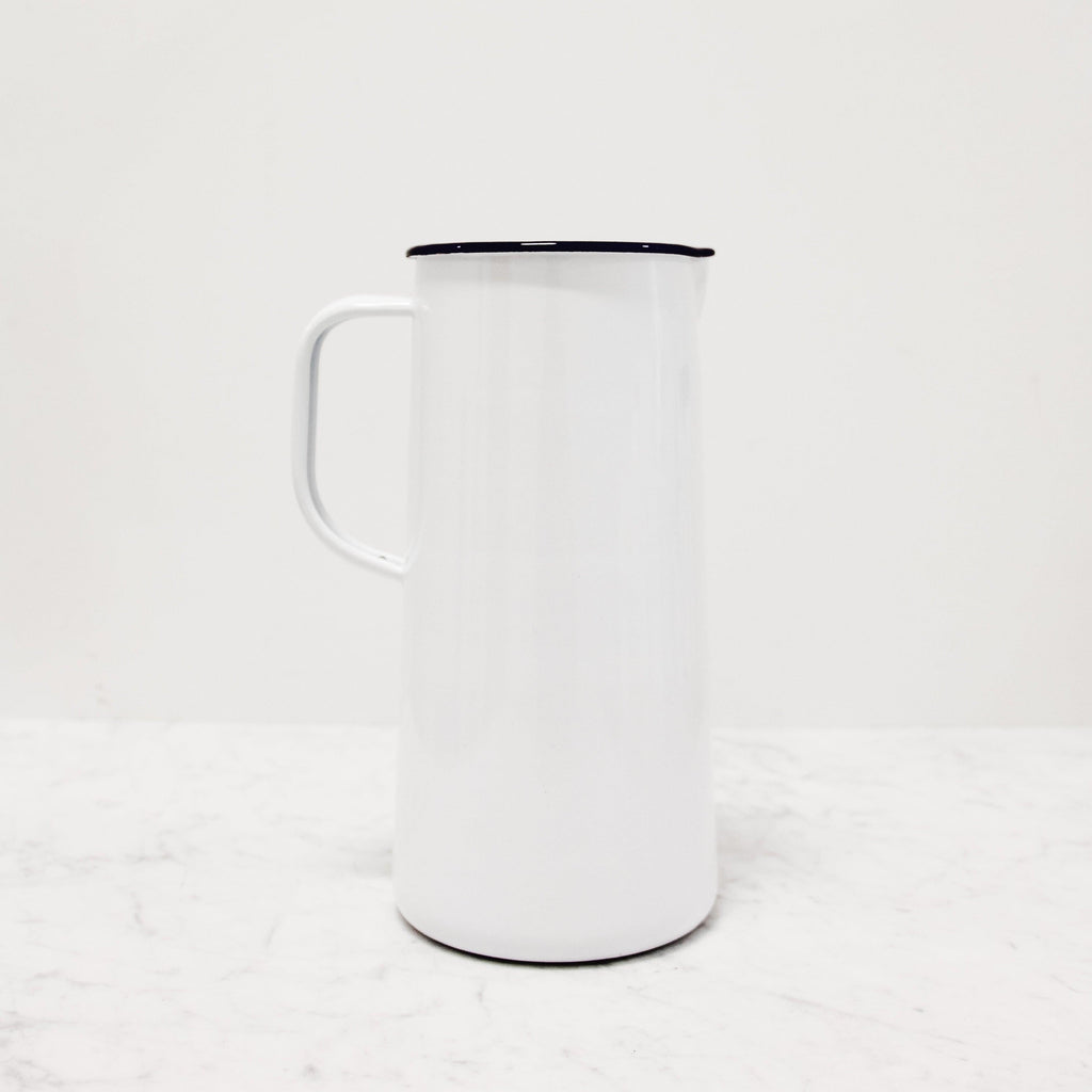 Falcon Enamelware white 3 Pint Jug with blue rim