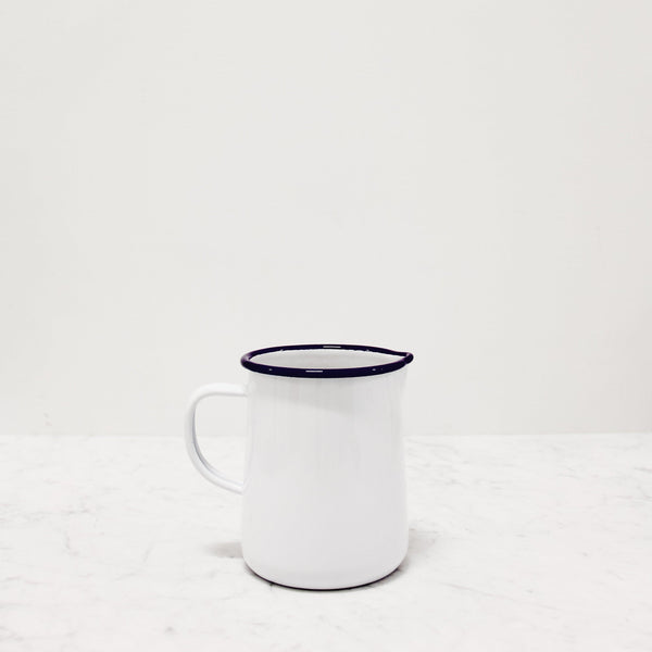 Falcon Enamelware - 1 Pint Jug with blue rim