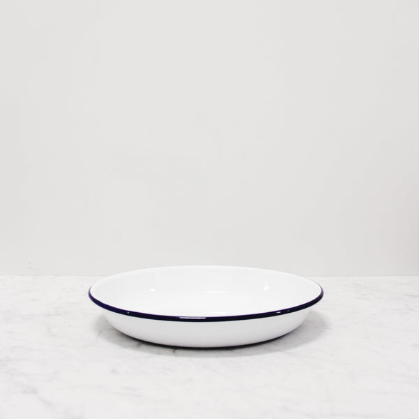 Falcon Enamelware deep plates in white with blue rim