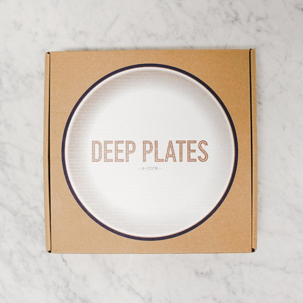 box of Falcon Enamelware deep plates