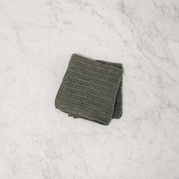 top view of london grey cotton knit dishcloth