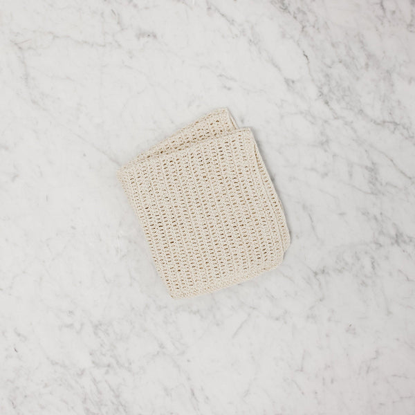 top view of linen white cotton knit dishcloth