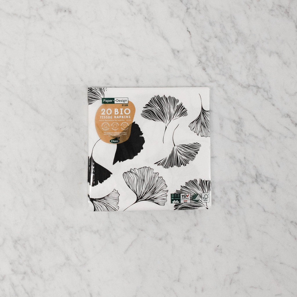 Ginkgo pattern Compostable Napkins in black and white