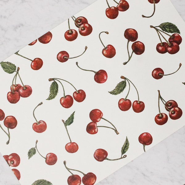 Hester & Cook - Paper Placemats with red Cherries