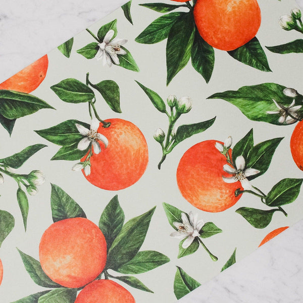 Hester & Cook - Paper Placemats - Orange Orchard with oranges and orange blossoms