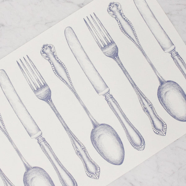 Hester & Cook - Vintage Blue Cutlery Placemat with knifes, spoons, and forks