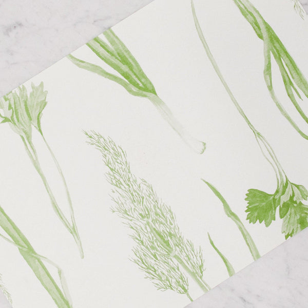 grace and company paper placemats in prairie greens pattern