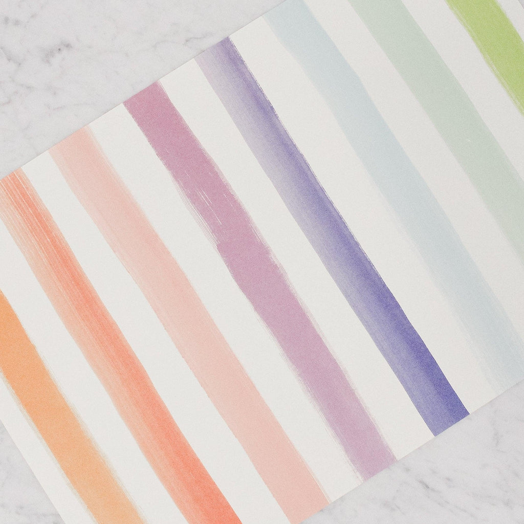 Hester & Cook - Paper Placemats - Sorbet Painted Stripes in rainbow colours