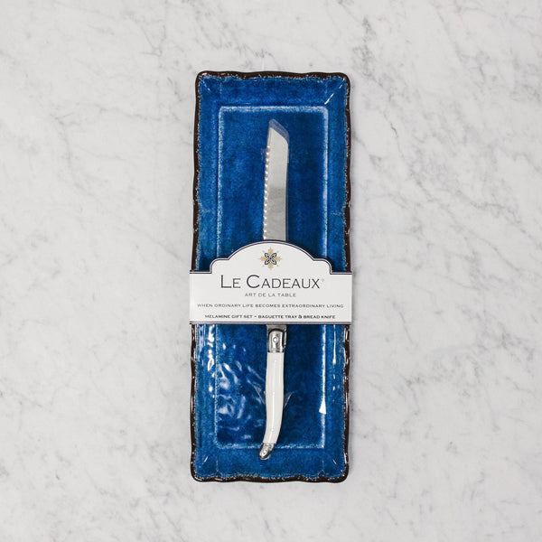 Le Cadeaux - Rustica Baguette Tray & Bread Knife - royal Blue