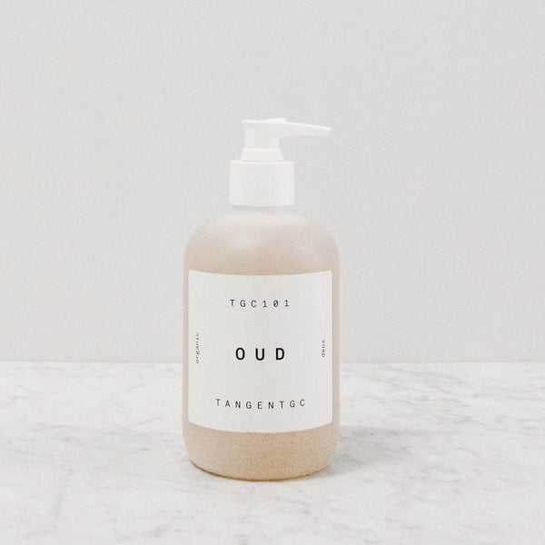 Tangent GC Oud scented liquid hand in a pump bottle