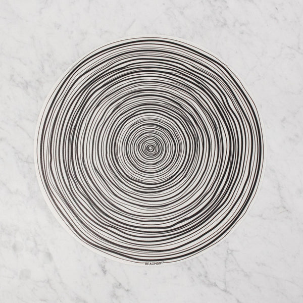 beaumont black and white spiral stripe vinyl placemat