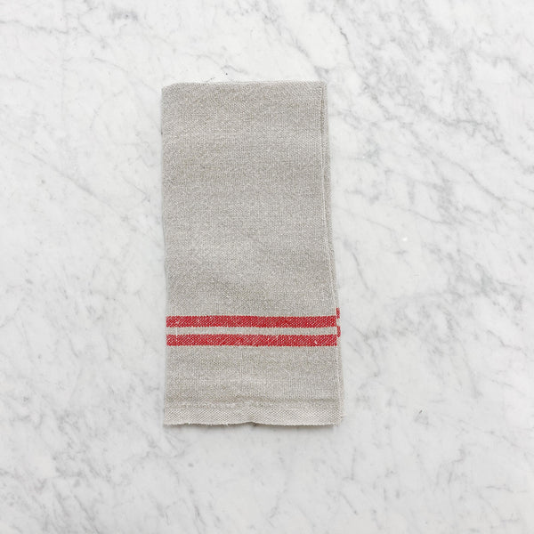 red stripe linen kitchen teatowel