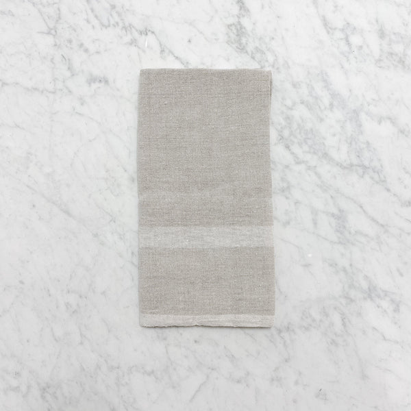 lothantique natural tea towel with white stripe