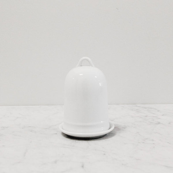 white tall ceramic butter dish with bell-like dome