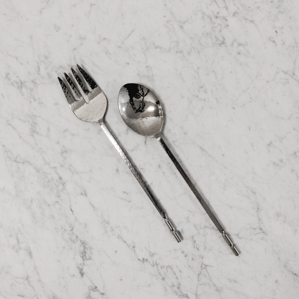 Edenborough twisted end stainless steel salad servers