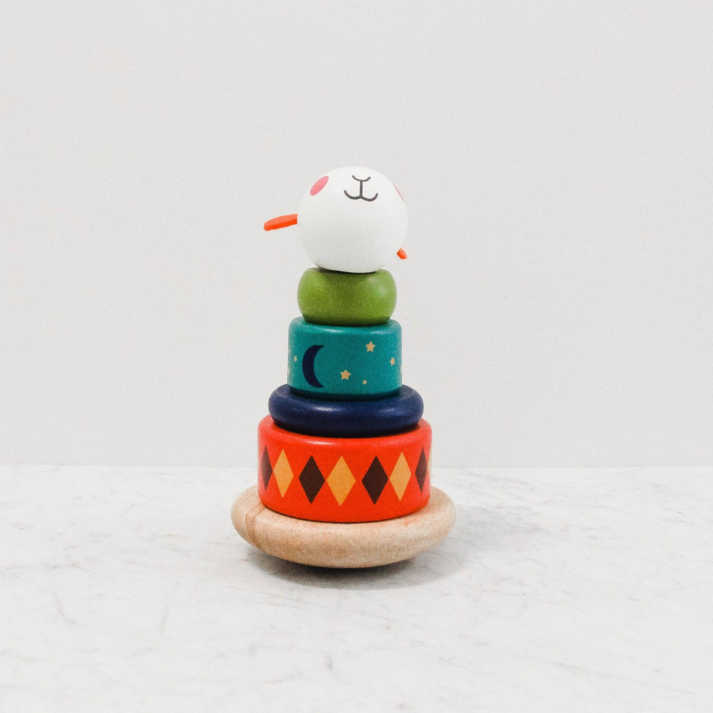 Moulin Roty multi-coloured wood sheep stacking toy
