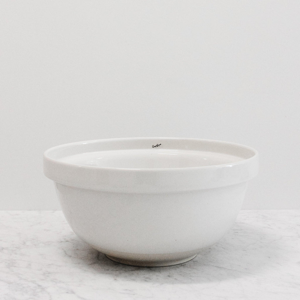 large white ceramic fattoria bread or mixing bowl