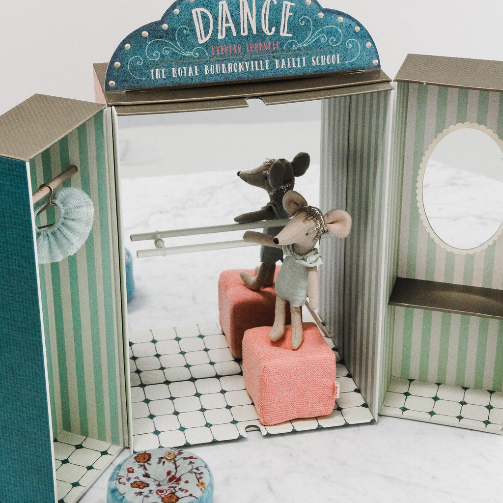 maileg ballet school play set with closet, dressing room, and dance studio with barre. comes with two plush stools